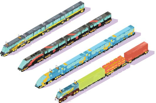 Train Cars In Formation Set