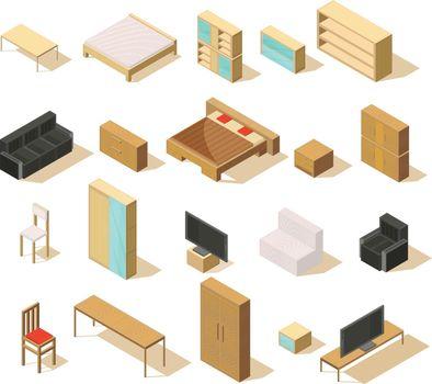Furniture Isometric Elements Set