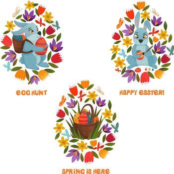 Easter Egg Hunt Spring Flowers Composition