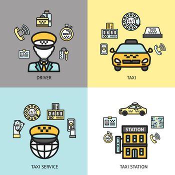 Taxi service design concept flat