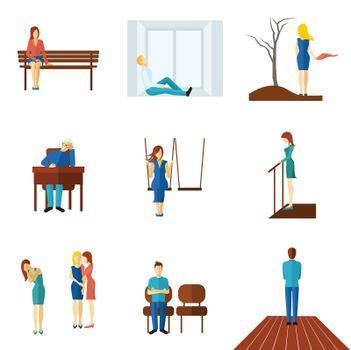Lonely People Flat Icon Set
