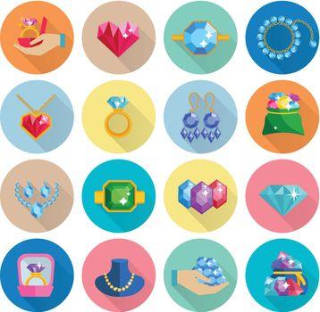 Precious Jewels Icons Flat