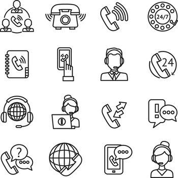 Call Center Outline Icons Set