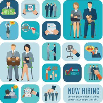 Human resources hiring flat icons set