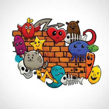 Graffiti Characters Flat Color Concept