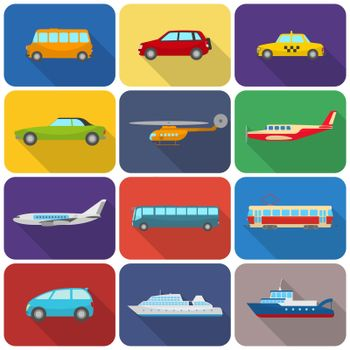 Multicolored transport icons flat