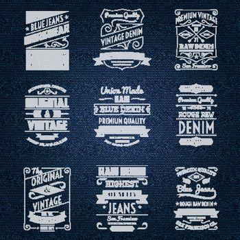 Denim jeans white typography labels