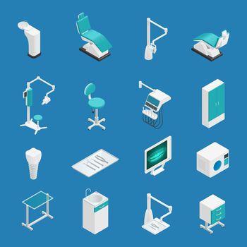 Stomatology Dentistry Isometric Icon Set