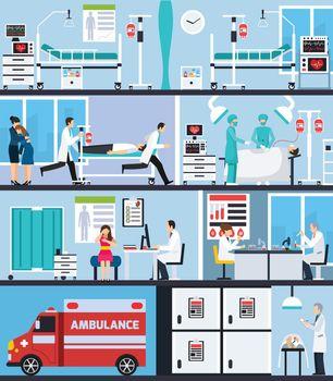 Hospital Interior Flat Compositions