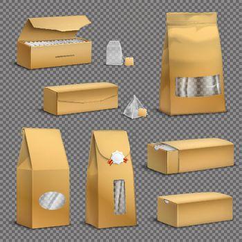 Tea Packaging Set Realistic Transparent