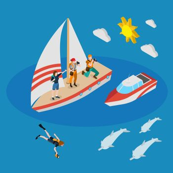 Yacht With Tourists Isometric Composition