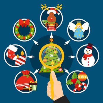 Christmas Decorations Flat Composition