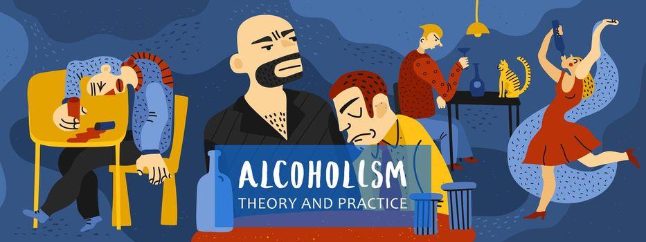 Alcohol Addiction Illustration