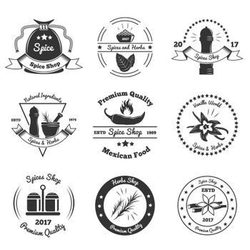 Spices And Herbs Monochrome Emblems