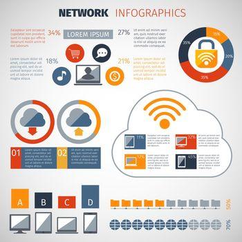 Network Infographics Set