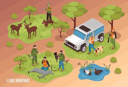 Hunting Scene Isometric
