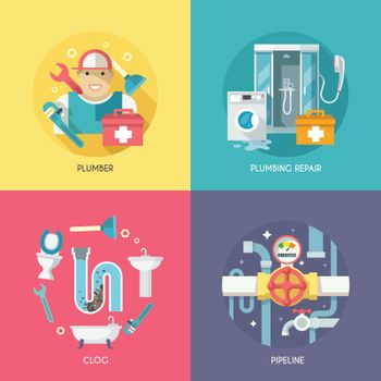 Plumbing icons composition flat