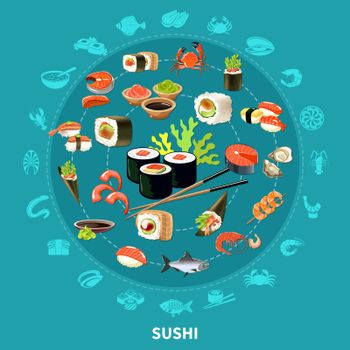 Sushi Round Composition