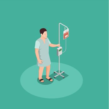 Patient With Dropper Isometric Composition