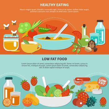 Healthy Eating Flat Banner Set