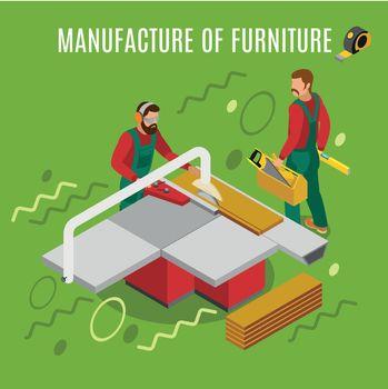 Manufacture Of Furniture Isometric Illustration