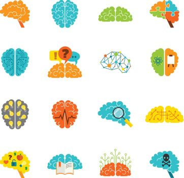 Brain icons flat