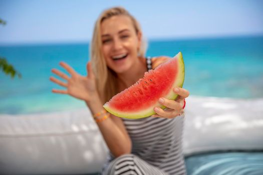 With Watermelon on the Beach