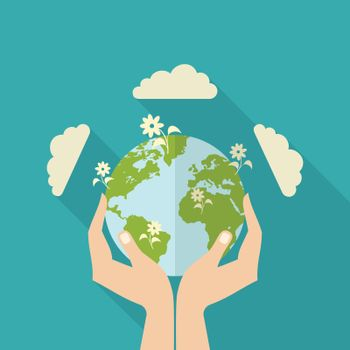Human Hands Holding Globe