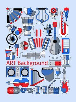 Art flat line set