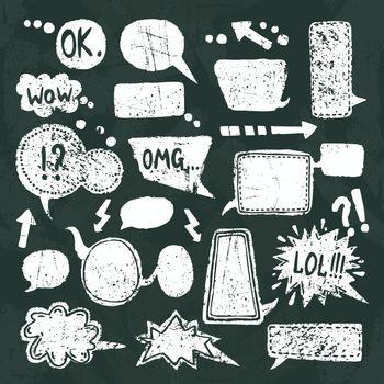 Bubble speech icons set chalkboard