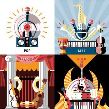 Musical instruments flat set