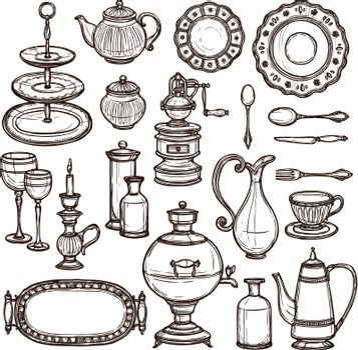 Dishes doodle sketch set print