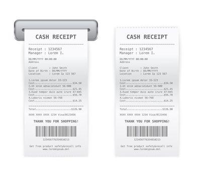 Cash Register Receipt 2 Realistic Images