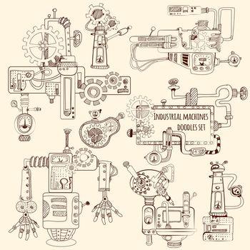 Industrial Machines Doodles Set