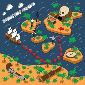 Treasure Island Isometric Composition