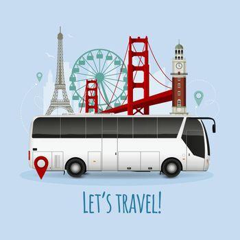 Realistic Touristic Bus Illustration