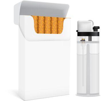 Cigarettes Pack And Lighter Set
