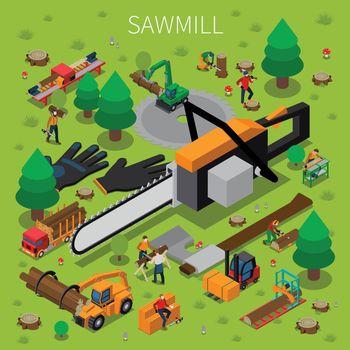 Sawmill Timber Mill Lumberjack Isometric Composition