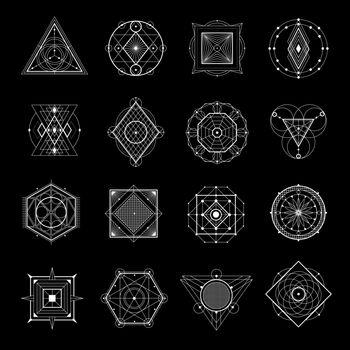 Sacred Geometry On Black Set