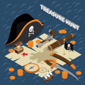 Treasure Hunt Isometric Composition