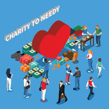 Volunteer Charity People Isometric Concept