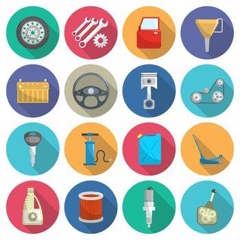 Car service maintenance flat icon set