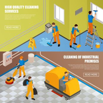 Isometric Industrial Cleaning Banner Set