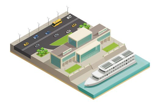 River Port Cruiser Isometric Composition