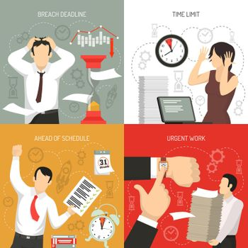 Deadline 4 Flat Icons Concept