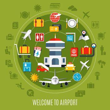 Airport Service Flat Advertisement Poster