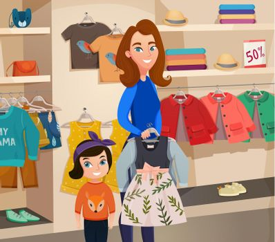 Childrens Clothing Store Illustration