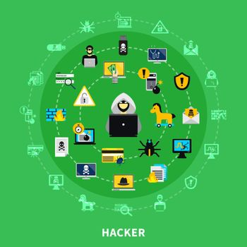Hacker Round Icons Set