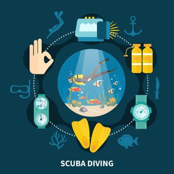 Scuba Diving Round Composition