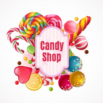 Realistic Candies Frame Background